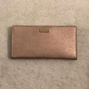 Kate Spade Rose Gold Leather Cameron Bifold Wallet